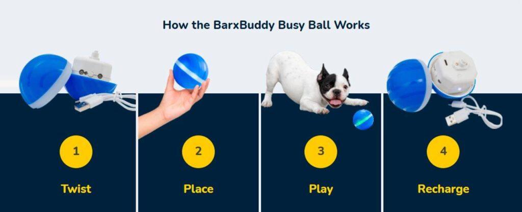 How does BarxBuddy Busy Ball work